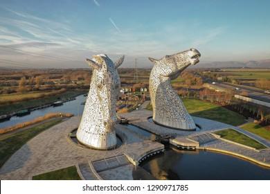 Scotland kelpies on a sunny day