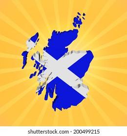 Scotland map flag on sunburst illustration