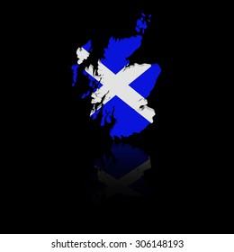 Scotland map flag with reflection illustration
