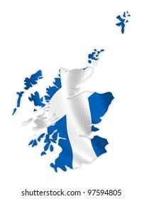 Scotland map on a waving flag