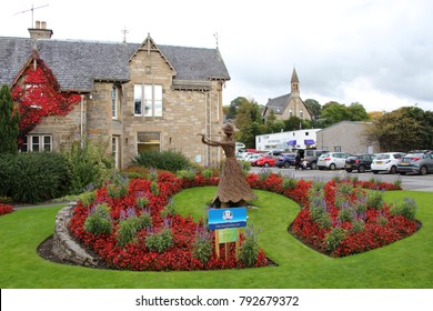 SCOTLAND, PERTHSHIRE, PITLOCHRY - OCTOBER 15, 2014: Flower arrangement for hole 13 of the 2014 Ryder Cup in Perthshire, Scotland