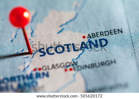 Scotland Pinned On Map Europe Stock Photo Edit Now 505620172
