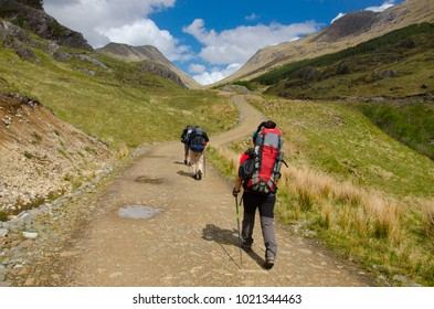 SCOTLAND, UNITED KINGDOM - MAY, 2017 -:Trekkers hiking on  the Cape Wrath Trail in Scottish Highlands.