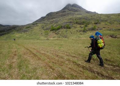 SCOTLAND, UNITED KINGDOM - MAY, 2017 : Trekker hiking on the Cape Wrath Trail ,near Camusrory village.