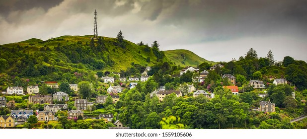 SCOTLAND, UNITED KINGDOM - MAY 30, 2019: Heart of Oban city top view. Oban is  popular resort city in the west of Scotland.