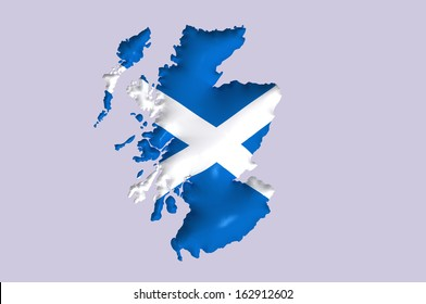 Scotland's flag super embossed on map