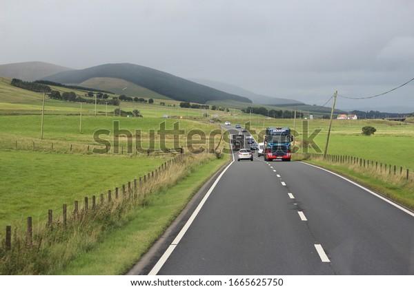 Scotland/United Kingdom-October 2017: Scenic Highway to Edinburgh from London
