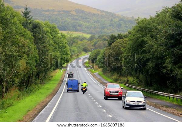 Scotland/United Kingdom-September 2017:Highway on the highlands of Scotland United Kingdom