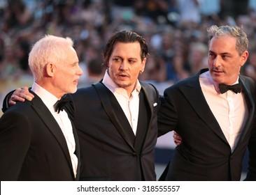 Scott Cooper, Johnny Depp, Dakota Johnson, Joel Edgerton,  at the premiere of Black Mess at the 2015 Venice Film Festival. September 4, 2015  Venice, Italy