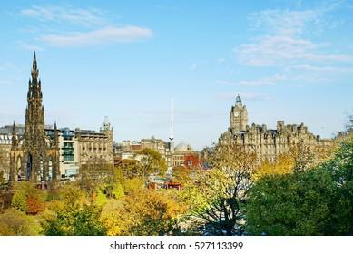 Scott Monument and the Balmoral Hotel in Princes Street Park in Edinburgh, Scotland