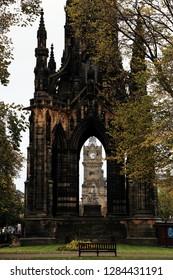 Scott Monument on Edinburgh's Princess Street, a Victorian Gothic monument to Scottish author Sir Walter Scott with clocktower at the center.
