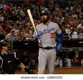 Scott Van Slyke left fielder for the Los Angles Dodgers at Chase Field in Phoenix,AZ USA April 22,2017.