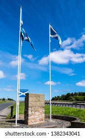 Scottish Borders, Scotland-England national border, Britain, July 2016, Scottish saltire flags flying on poles