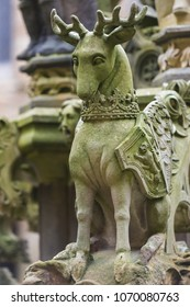 Scottish Deer sculpture as an element of the fountain at the inner courtyard of Linlithgow Palace, Scotland.