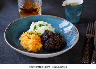 Scottish dish of haggis, neeps and tatties, meal served traditionaly on Burns night