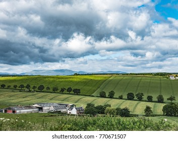A Scottish farmstead is nestled in the green hills of the Black Isle in this panoramic summer scene.