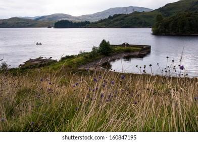 Scottish highland landscape with loch, fishing boat and violet flowers. Loch Katrine (Scotland)