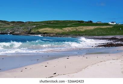 Scottish Highlands Beach Waves, Village, Blue Sky, Nature of Scotland, United Kingdom