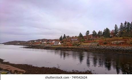 Scottish Highlands Small Town Lochinver, Nature Landscape of Scotland, United Kingdom