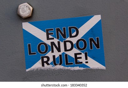"""Scottish independence: """"End London rule"""" sticker on a grey background"""