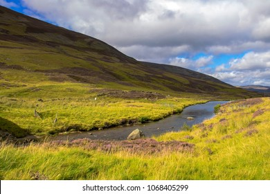 Scottish landscape in Cairngorm Mountains and Glen Clunie river. Royal Deeside between Braemar and Ballater. Aberdeenshire, Scotland, United Kingdom.