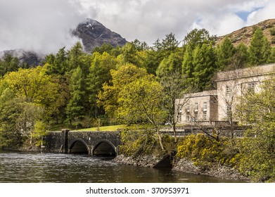Scottish landscape with Loch Sloy Hydroelectric power station on the shores of Loch Lomond, Scotland, UK