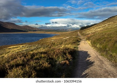 Scottish landscape. Path around Loch Muick in Cairngorms National Park. Ballater and Royal Deeside, Aberdeenshire, Scotland, UK. October 2017