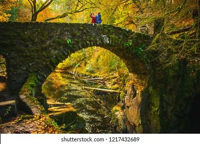 Scottish landscape with Scotland Architectural Bridge and clear water Scotland Travel Concept Hermitage