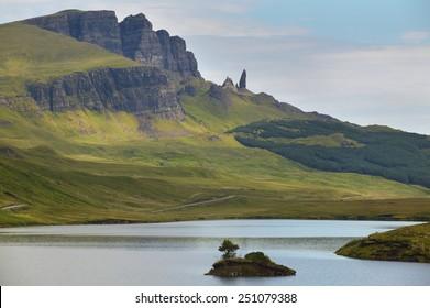 Scottish landscape in Trotternish peninsula. Skye isle. Scotland. UK