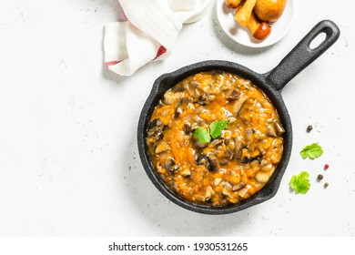 Scottish mushroom stew. Space for text, top view.