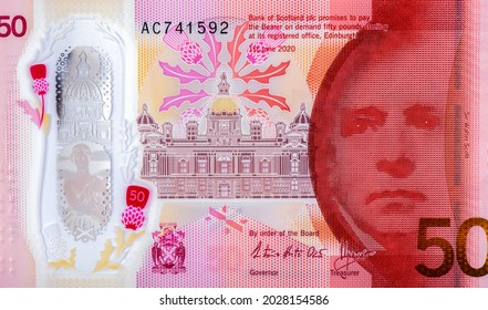 Scottish novelist and poet Sir Walter Scott, alongside the image of The Mound in Edinburgh, Portrait from Scotland 50 Pounds 2020 - 2021 Polymer Banknotes