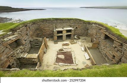 Scottish prehistoric site in Orkney. Skara Brae. Scotland. UK