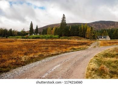 Scottish rural landscape. Pathway to Lochnagar. Cairngorms National Park and Royal Deeside. Ballater, Aberdeenshire, Scotland, UK.