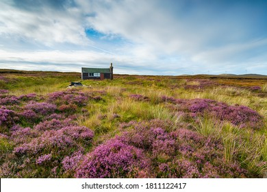 A Scottish shieling hut on peat bog near Stornoway on the Isle of Lewis in the Outer Hebrides