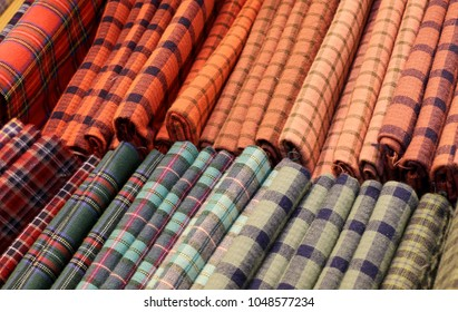 Scottish tartan fabrics for sale in the haberdashery with high quality products