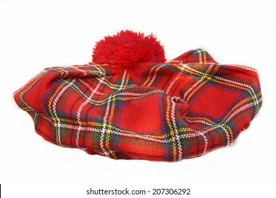 Scottish Tartan Hat. Bonnet, isolated on white