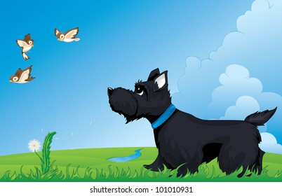 Walking With A Scottie Dog Illustration