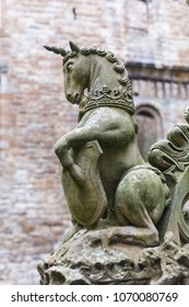 Scottish Unicorn sculpture as an element of the fountain at the inner courtyard of Linlithgow Palace, Scotland.
