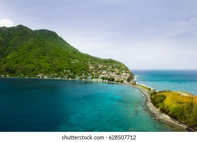 Scotts head in Saint Mark Parish in Dominica. Scotts Head is a beautiful marine reserve in the Caribbean.