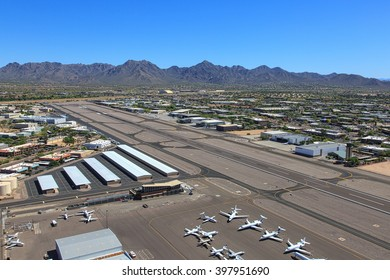 Scottsdale Airport from above looking towards the northeast and the McDowell Mountains