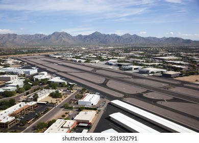 Scottsdale Airport with the Mcdowell Mountains in the distance