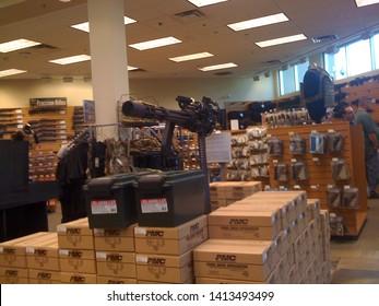 Scottsdale, Ariz. / US - March 5, 2011: Guns, ammunition and shooting accessories on display at Scottsdale Gun Club.