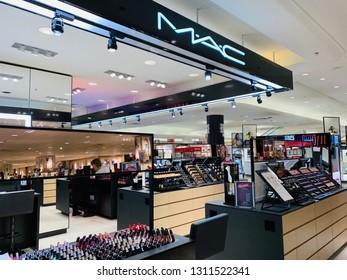 Scottsdale, Arizona - February 2, 2019: Mac Cosmetics Counter in a Dillard's Department Store