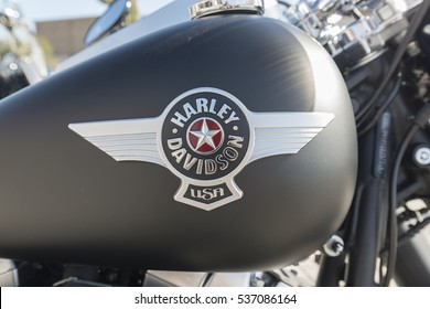 Scottsdale, Arizona, USA - December 10, 2016: Logo of Harley Davidson motorcycles on a tank of Harley Davidson bike. Harley-Davidson, Inc. is an American motorcycle manufacturer, founded in 1903.