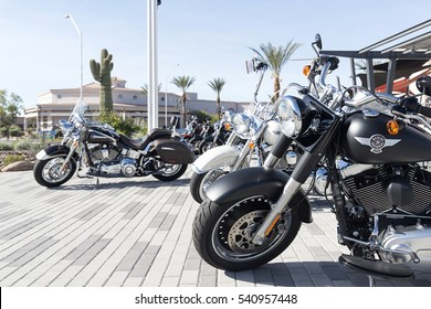 Scottsdale, Arizona, USA - December 10, 2016: Harley Davidson bikes on square in Scottsdale, AZ, USA. Harley-Davidson, Inc., or Harley, is an American motorcycle manufacturer, founded in 1903.