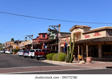 SCOTTSDALE, ARIZONA, USA - FEB 26, 2016:  The old western styled buildings on E Main Street of Old Town Scottsdale, a popular attraction for tourists and locals.
