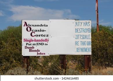 Scottsdale, Arizona / USA June 2, 2019: Alexandria Ocasio Cortez Sign