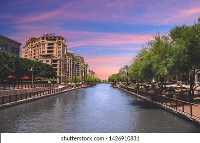 Scottsdale, Arizona / USA June 2, 2019: Old Town Waterfront