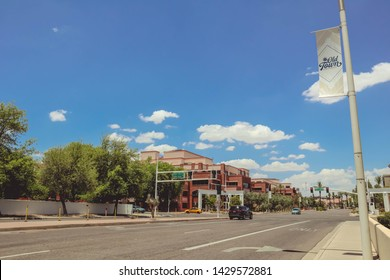 Scottsdale, Arizona / USA June 2, 2019: Old Town Scottsdale Sign And Shops