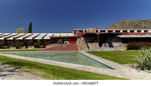 Scottsdale, Arizona, USA - May 10, 2016: Front view of Taliesan West, designed by architect Frank Lloyd Wright